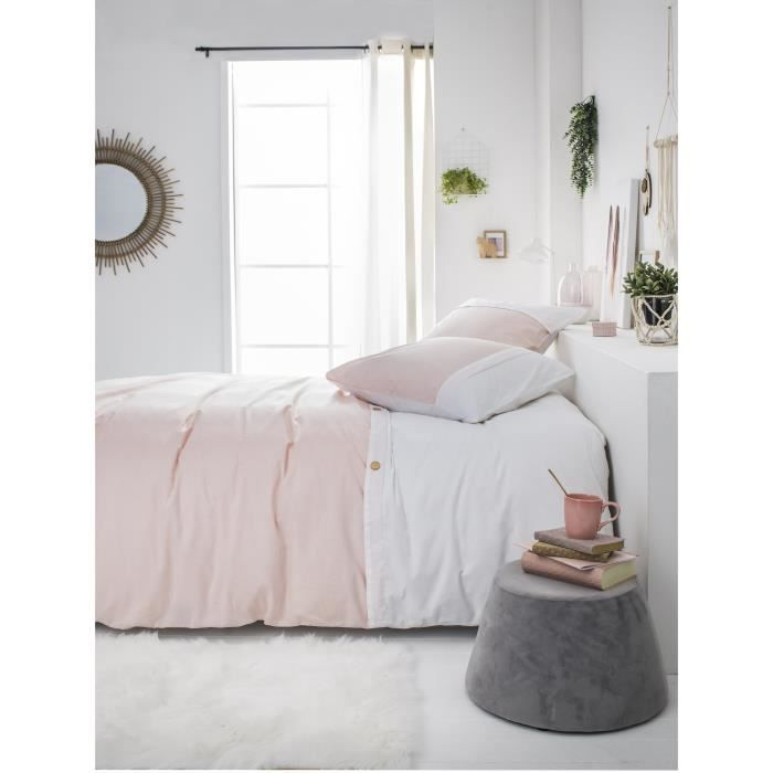 housse de couette rose poudre achat vente housse de. Black Bedroom Furniture Sets. Home Design Ideas