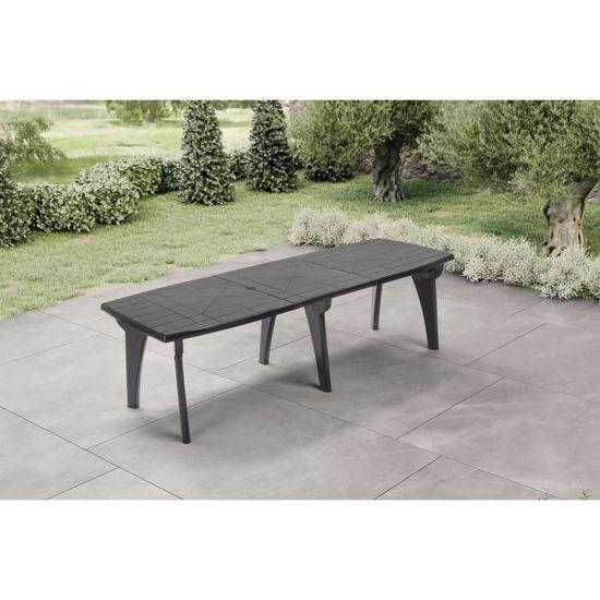 Table de jardin avec rallonge Lipari 2 - 8 à 10 places - 250 x 90 x 72, 8  cm - Gris anthracite