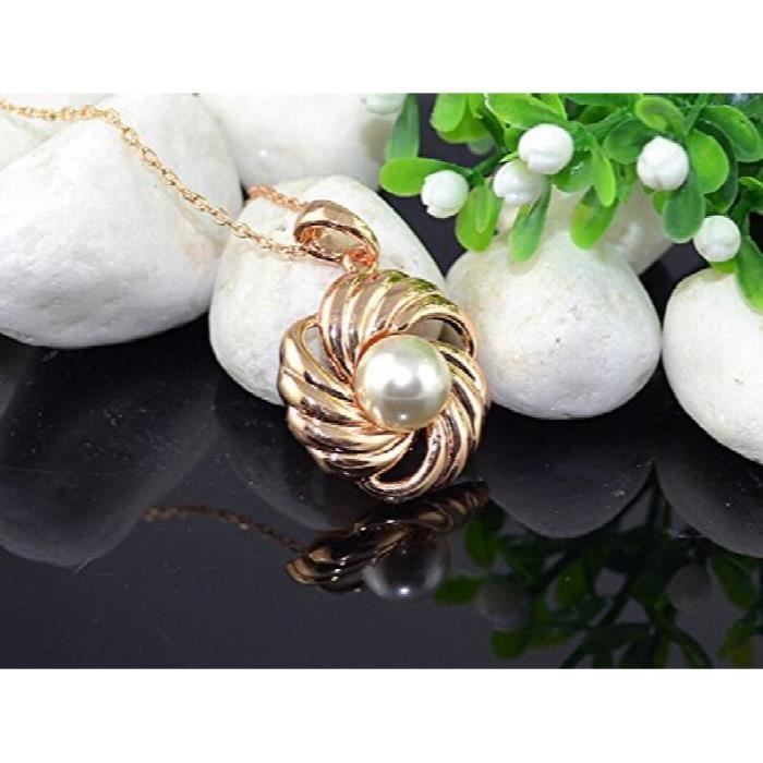 Womens Golden Bling Rhodium Plated Pearl Studded Alloy Pendant For AndVFHFN