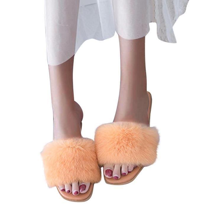 Femmes Chaudes à la cour solide Toe peluche ouvert Chaussons sol Lit Chaussures Intérieur Chambre_bub813