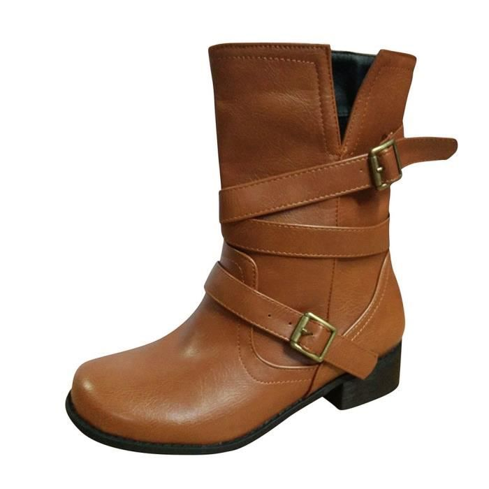 Women Fashion Belt Buckle Boots Retro Casual Large Size Middle Tube Boots Shoes marron