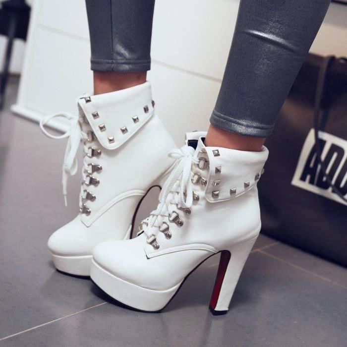 Bottes à talons hauts pour femmes avec rivets en métal massif et talon haut - chaussures à bout rond SCH81115836WH35_wat
