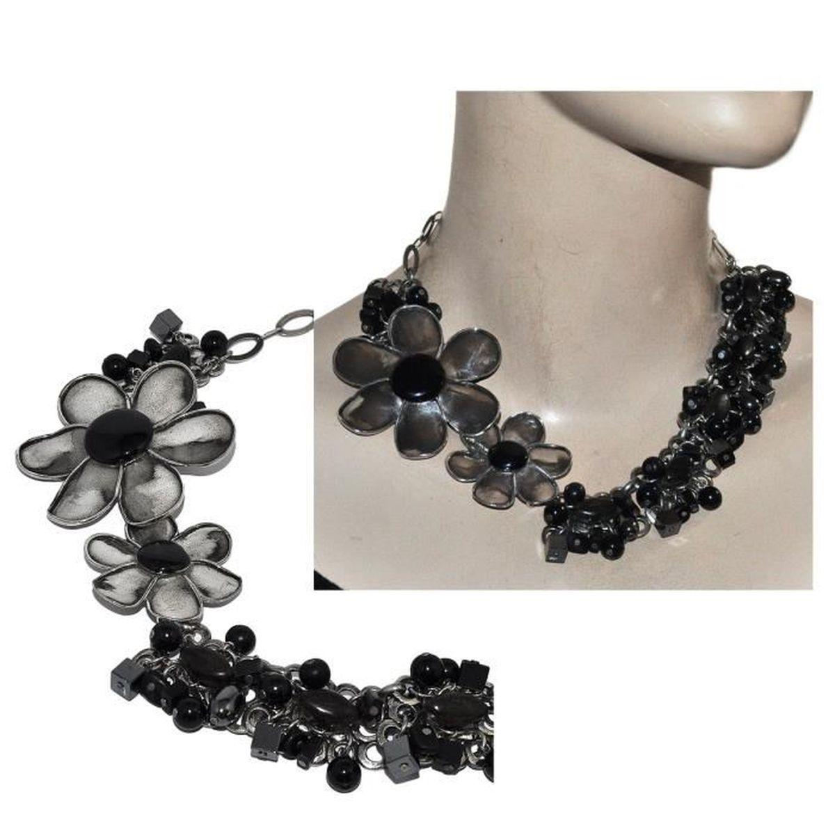gros collier argent noir femme