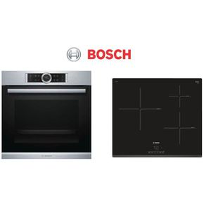 PACK cuisson BOSCH - HBG675BS1F Four + PIJ631BB1E Table de cuisson induction