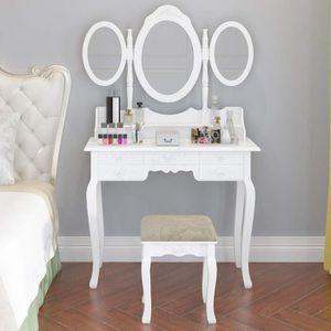 COIFFEUSE Coiffeuse blanche avec 7 tiroirs et 3 miroirs, coi