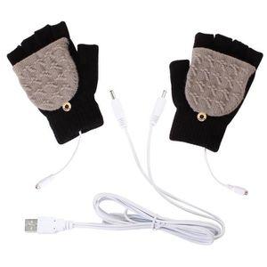 Yinuoday Unisexe Pour femme et pour homme USB Gants chauffants Moufle dhiver mains au chaud Gants pour ordinateur portable compl/ète et demi chauff/é /à tricoter Mitaines de chauffage mains Warmer lavable Motif