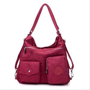 SAC À DOS Rouge nouvelle grande capacité sac à main en nylon