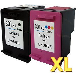 CARTOUCHE IMPRIMANTE Pack 2 cartouches compatibles HP 301 XL - DESKJET