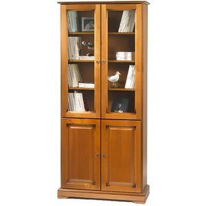 BIBLIOTHÈQUE  Bibliothèque 2 portes pleines + 2 portes vitrées