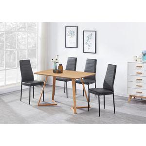 TABLE À MANGER COMPLÈTE Ensemble Table à Manger Effet Chêne Moderne + 4 Ch
