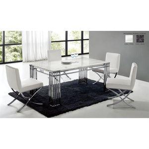Table De Repas En Marbre Blanc Et Chrome Achat Vente Table A
