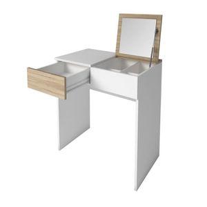 COIFFEUSE SARA Coiffeuse style contemporain - Blanc mat et d