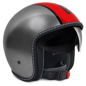 CASQUE MOTO SCOOTER MOMO DESIGN Blade casque jet gris metal et rouge l