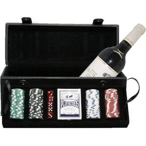 COFFRET CADEAU VIN Malette Noir Poker et Vin de Bordeaux