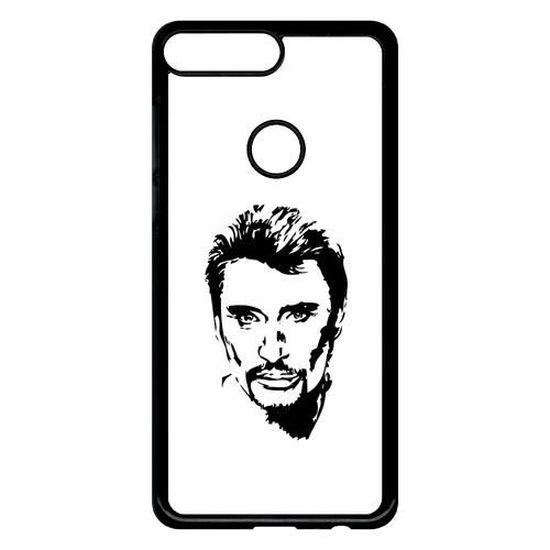 Coque pour smartphone - Plastique - Noir Huawei Y7 (2018) DESSIN JOHNNY HALLYDAY NOIR ET BLANC