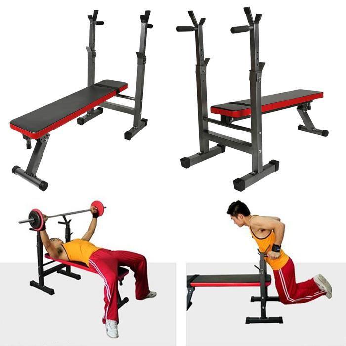Banc Musculation Pliable avec support d'haltères réglable Repose Barre Musculation,Support Squat, Banc Bench Press, Repose Haltère R