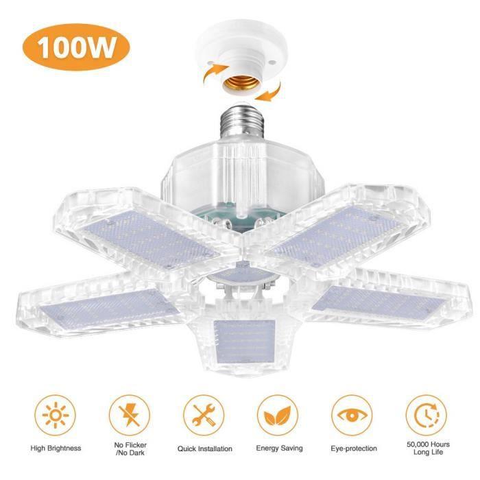 LED Lampe De Garage Plafonnier d'éclairage à Déformable 100W E27 10000Lm Blanc Froid 6500K Ampoule Lampe à 5 panneaux ajustables