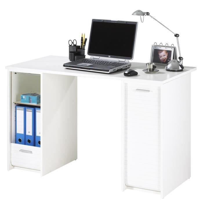 Bureau contemporain blanc mat - L 120 cm