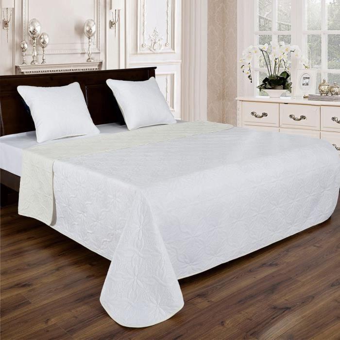 Couvre lit florale reversible - Blanc-Ecru - 230x250cm