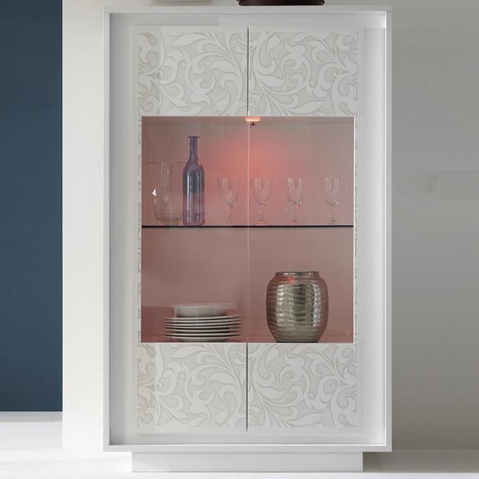 Vaisselier LED blanc laqué design ERINE 4 Blanc L 106 x P 50 x H 171 cm