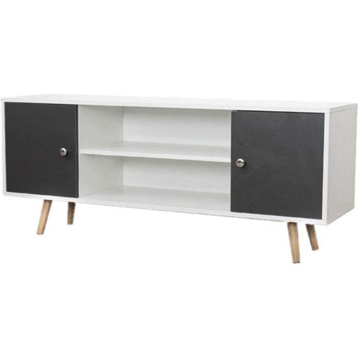 Meuble TV design Samy - L. 120 x H. 50 cm - Blanc et gris foncé