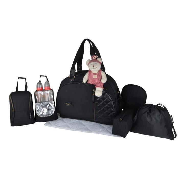 Baby on board - sac a langer- week end team chic in black -sac de voyage bébé - noir détails cuir noir SAC GRAND FORMAT ADAPTE AUX V