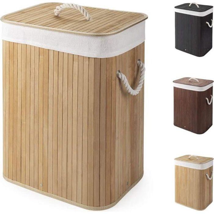 panier à linge pliable en bambou 60l panier à linge corbeille à linge coffre à linge avec sac amovible et lavable bac à linge pliabl