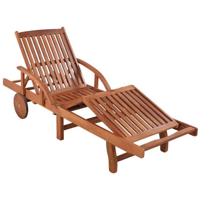 Bain de Soleil de Jardin Transat de Jardin Chaise longue Bois d'acacia solide