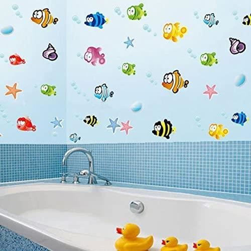 ROKOO Poissons Cartoon Underwater World Stickers Muraux PVC Décoration Maison pour Salle de Bain Chambre d'Enfants Salon Canapé F319