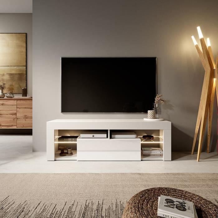Meuble TV / Banc TV - BIANKO - 140 cm - blanc mat / blanc brillant - avec LED - style moderne - tablette en verre