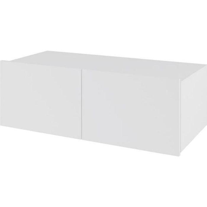 DOMTECH Meuble TV suspendu Blanc brillant 100 cm