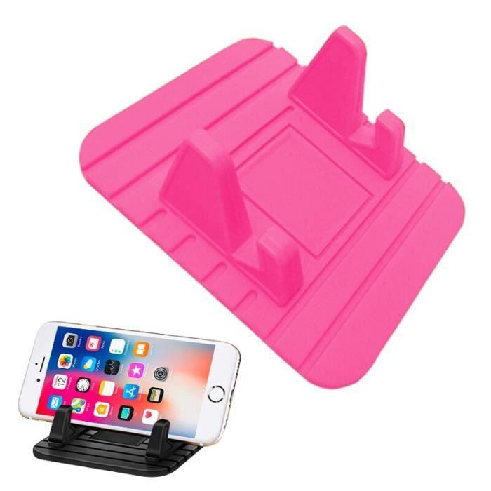 Supports voiture,Voiture GPS Silicone anti dérapant tapis support de bureau support pour téléphone Mobile support de - Type Rouge