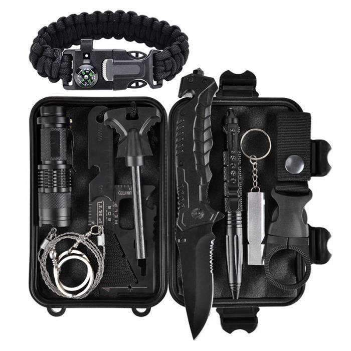Kit de survie en cas d'urgence 11 en 1, Outil de survie en plein air avec bracelet de survie, couteau pliant, allume-feu, si Bi23995