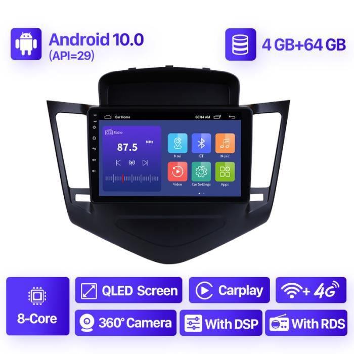 9 pouces GPS autoradio Android 10.0 4 + 64GB wifi lecteur multimédia pour Chevrolet Cruze 2013 2014 2015 2din unité principale à écr