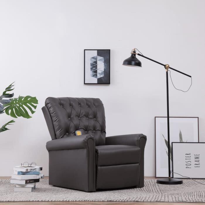 Fauteuil Relax Inclinable Électrique - Fauteuil de Massage - Fonction de Chauffage - Gris Similicuir - 78 x 94 x 91 cm