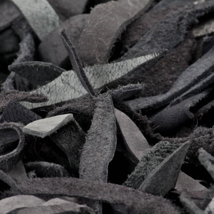 ZOE© Tapis de salon Tapis Shaggy Décor - Tapis de sol Cuir véritable 190 x 280 cm Gris ♕97354