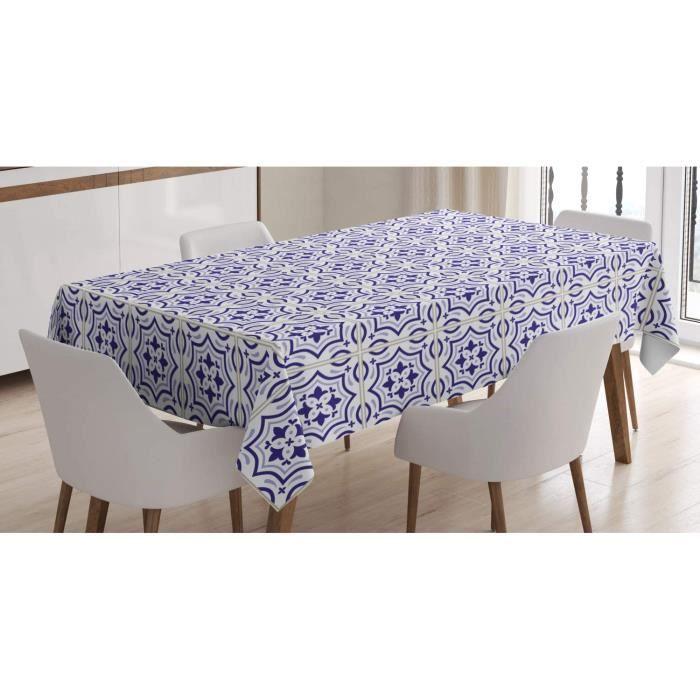 Bleu Marin Nappe, Carrelage au Sol Portugais, Linge de Table Rectangulaire, Violet Blue Bleu Gris 5x10In [320]