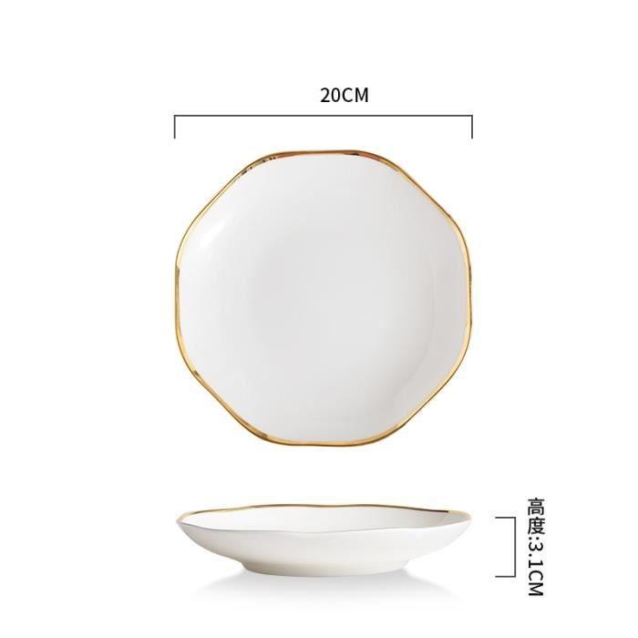 Assiette,Assiettes en céramique blanche dorée, assiette à dîner décorative en porcelaine, plats à Steak, pâtes, hôtel - Type B2