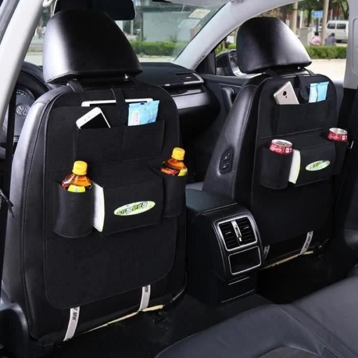 Lot de deux Protège dossier, siège arrière de voiture organisateur feutre Protection siège 55x44CM NOIR
