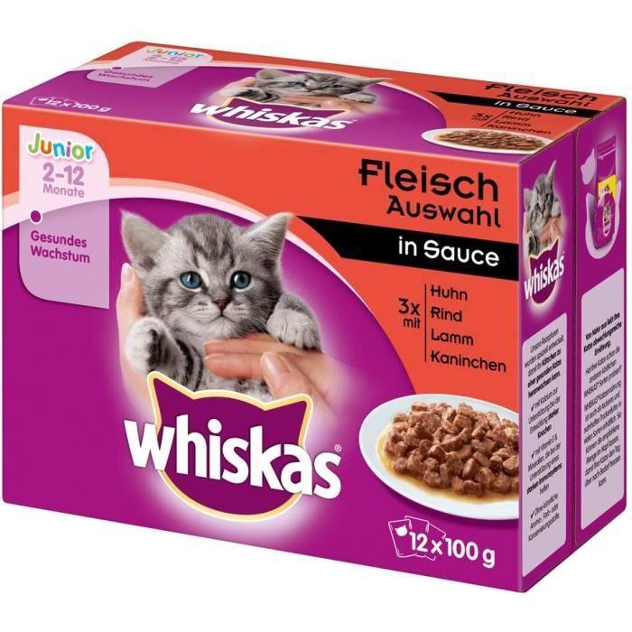 Whiskas Nourriture humide Junior < 1 chaton - chaton sélection classique en sauce, 12 sachets (12 x 100 g)