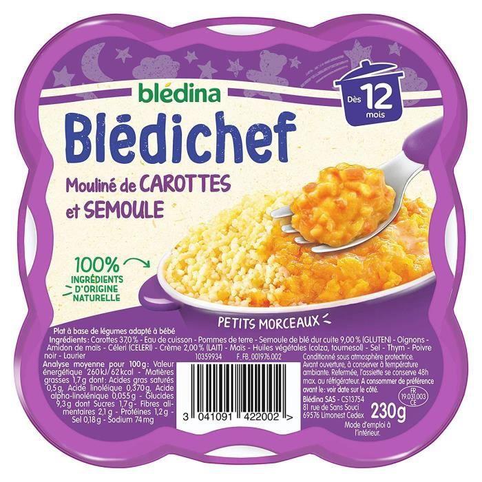 BLEDICHEF Mouliné de carottes et semoule 230g