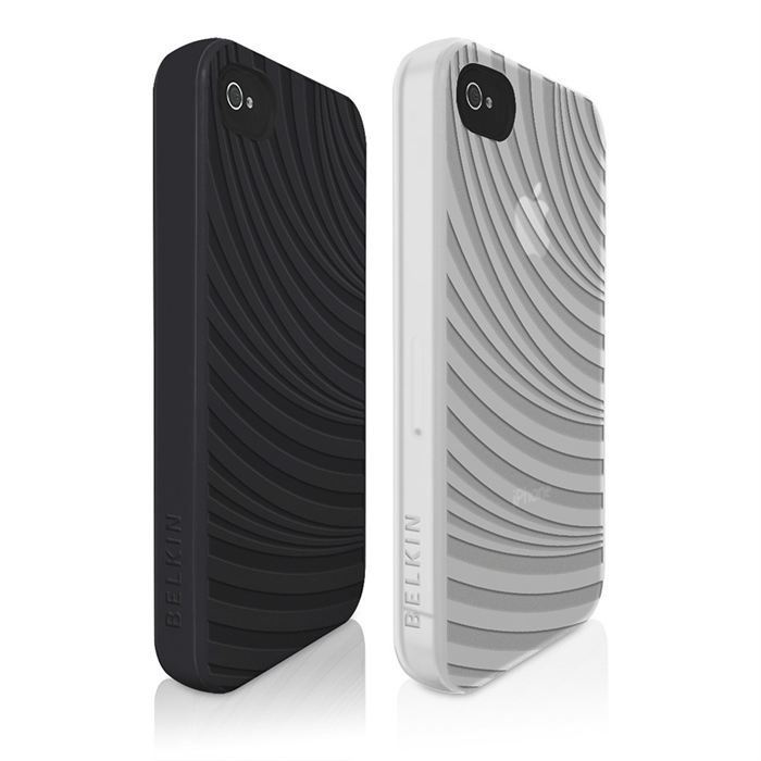 BELKIN Grip groove - Lot de 2 étuis de protection - Iphone 4 - Noir / Blanc