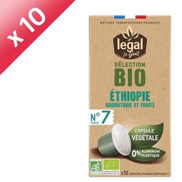 [LOT DE 10] LEGAL Cafés Selection Bio Ethiopie - 10 Capsules