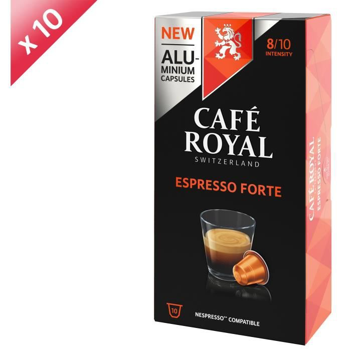 [LOT DE 10] CAFE ROYAL Café Espresso Forte - Compatible Nespresso aluminium - 10 capsules