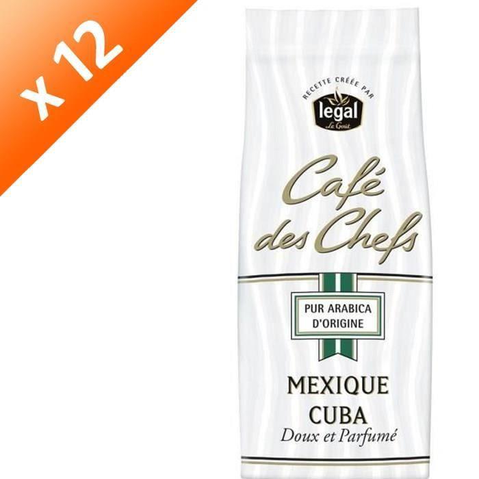 [LOT DE 12] LEGAL Cafés des Chefs Mexique Cuba Moulu - 250 g
