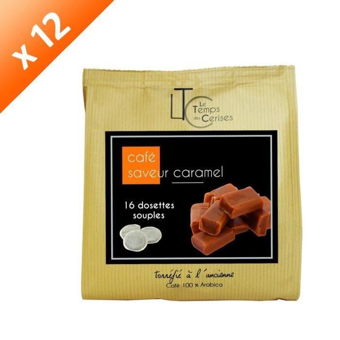 [LOT DE 12] LE TEMPS DES CERISES Café Saveur Caramel - 16 dosettes - 112g