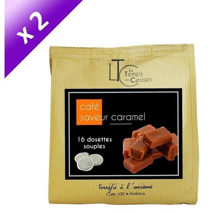 [LOT DE 2] LE TEMPS DES CERISES Café Saveur Caramel - 16 dosettes - 112g