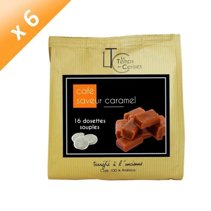 [LOT DE 6] LE TEMPS DES CERISES Café Saveur Caramel - 16 dosettes - 112g