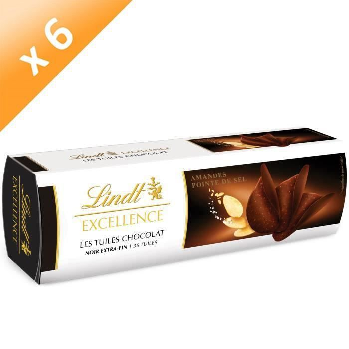 [LOT DE 6] Confiserie de Chocolat Lindt Excellence Tuiles Noir Amandes - Etuis 125G