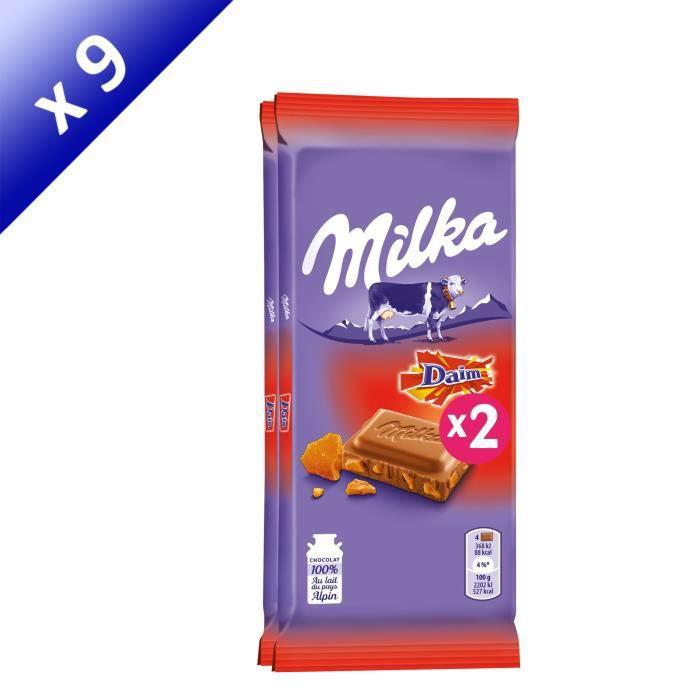 [LOT DE 9] MILKA Tablette de chocolat au daim - 2 x 100g